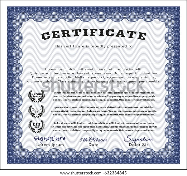 Blue Certificate of achievement template. Money Pattern design. With complex linear background. Customizable, Easy to edit and change colors.