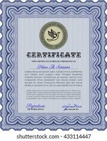 Blue Certificate. Detailed. Nice design. Printer friendly.