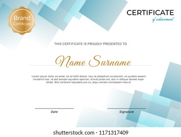 Blue certificate template design with clean and modern pattern with stamp and badge. vector certificate design.