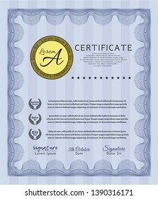 Blue Certificate template or diploma template. Easy to print. Cordial design. Customizable, Easy to edit and change colors.