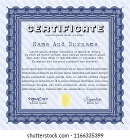 Blue Certificate template. Good design. Complex background. Vector illustration.