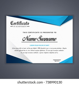 Blue Certificate template in vector for achievement, Certificate Design Template in Modern Style - vector
