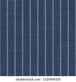 Blue Chambray Pinstripe Texture Background. Classic Preppy Shirting Stripe Seamless Pattern. Close Up Weave Suit Fabric in Denim Ticking for Wallpaper, Men Fashion Apparel. Vector EPS10 Repeat Tile