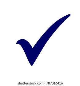 Blue check mark icon. Tick symbol in blue color, vector illustration.