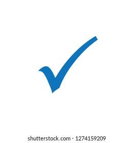 Blue check mark icon. Vector Illustration