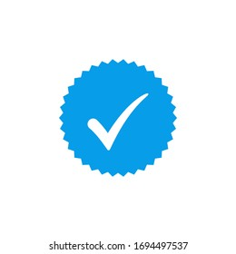Blue check mark icon vector design, profile verified badge