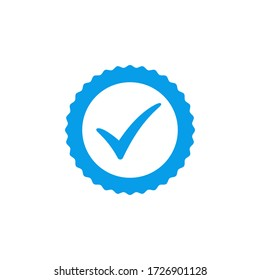 Blue check mark icon vector design, profile verified badge