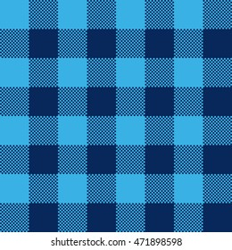 Blue check pattern seamless fabric texture. Vector illustration.