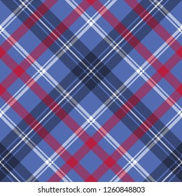 Blue check plaid pixel fabric seamless texture. Vector illustration.