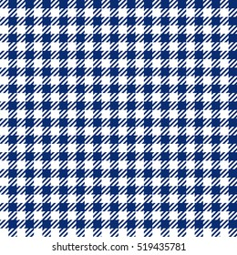 Blue check plaid seamless fabric texture. Vector illustration.