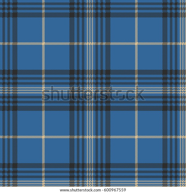 Blue check plaid tartan seamless pattern. Vector illustration