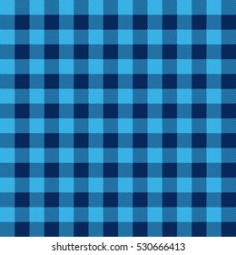 Blue check textile seamless pattern. Vector illustration.