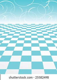 Blue Checker Pattern with abstract swirl Background - vector illustration