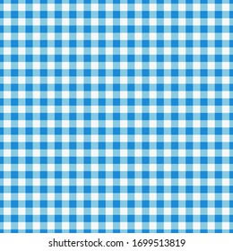 Blue Checkered Textile products. Texture Gingham seamless pattern Vector illustration squares or rhombus for fabric, napkin, plaid, tablecloths, towel, clothes, linen, dresses, bedding blankets quilts