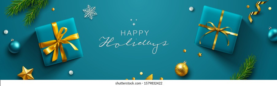 Blue Christmas background, banner, frame, header, background or greeting card design with christmas decor including baubles, gift boxes, fir tree cuttings, glitter and confetti. Vector Illustration.