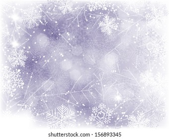 Blue Christmas background with falling snow and lights and grunge  frame of snowflakes
