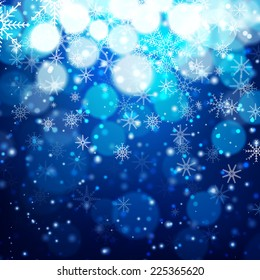 Blue Christmas background with light, bokeh and snowflakes. Vector illustration