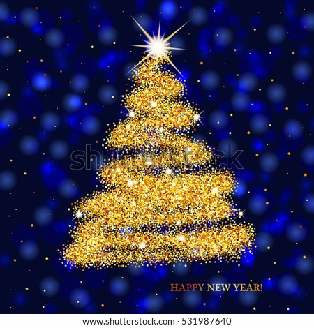blue christmas background with shining gold christmas tree