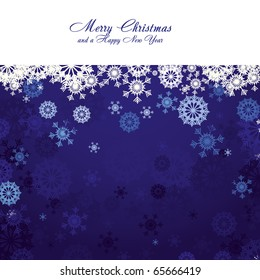 Blue christmas background with snowflakes and wish of Merry Christmas, vector illustration