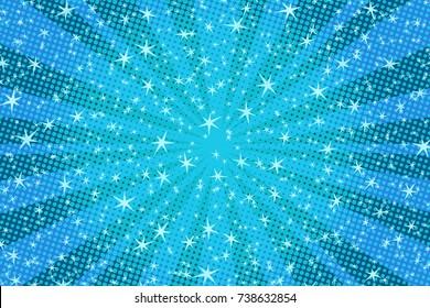 blue Christmas background with stars. Pop art retro vector illustration
