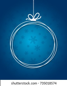 Blue Christmas Ball background with paper snowflakes. Christmas card flake. Xmas invitations template. Vector illustration