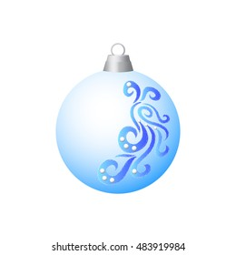 Blue Christmas ball. Isolated object on a white background. Vector illustration.