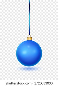 Blue Christmas ball with ribbon and bow. Realistic isolated vector. New year toy decoration. Holiday decoration element