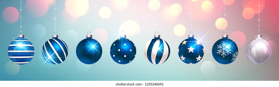 Blue Christmas Balls on Colorful Festive Background. Vector illustration