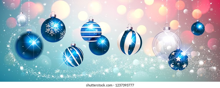 Blue Christmas Balls on Colorful Winter Background. Vector illustration