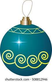 Blue Christmas Bauble with Yellow Swirls