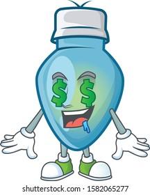 Blue christmas bulb with Money eye cartoon character design