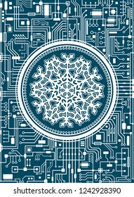 Blue Christmas chipset background with huge white snowflake in the center. Futuristic holiday technology concept banner. Vector hi-tech new-year vertical illustration.