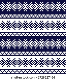 Blue Christmas fair isle pattern background for fashion textiles, knitwear and graphics