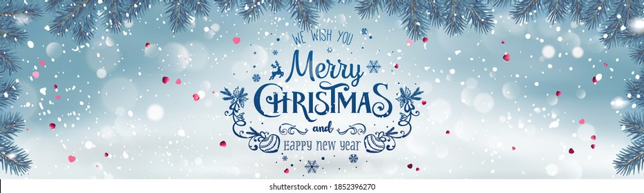Blue Christmas and New Year Text on snow Xmas background with fir branches, snowflakes, light, stars. Merry Christmas card. Vector Illustration, realistic vector