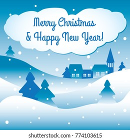 Blue Christmas and New Year vector greeting card