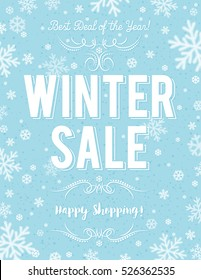 Blue Christmas  poster with snowflakes and sale offer, vector illustration