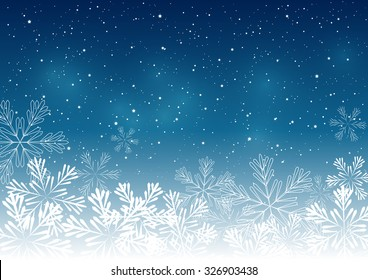 Blue Christmas snowflakes background.