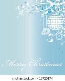Blue christmas themed greeting card