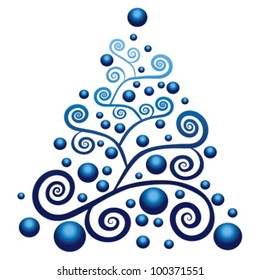 blue christmas tree with blue globes - vector illustration