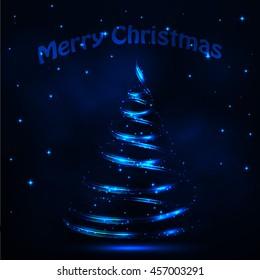 Blue christmas tree from light. Vector illustration