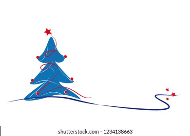 blue christmas tree with lines, balls and stars, white bac kground