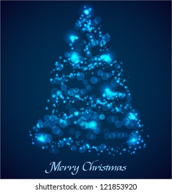 Blue christmas tree made ??of glowing particles. Vector illustration