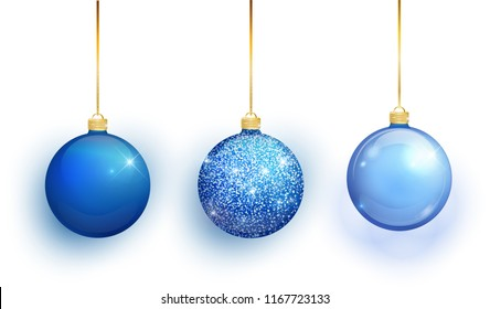 Blue Christmas tree toy set isolated on white background. Stocking Christmas decorations. Vector object for christmas design, mockup. Vector realistic object Illustration 10 EPS