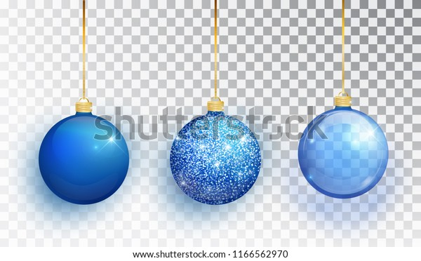 Blue Christmas tree toy set isolated on a transparent background. Stocking Christmas decorations. Vector object for christmas design, mockup. Vector realistic object Illustration 10 EPS