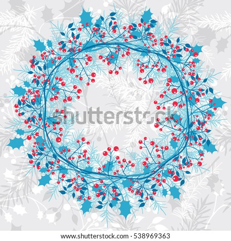 blue christmas wreath on seamless background winter plants elements for decoration vector illustration - Blue Christmas Wreath
