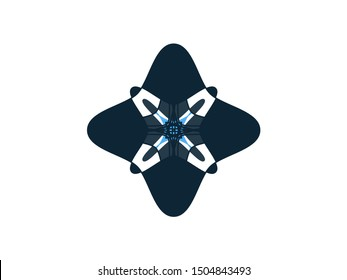 Blue Christmas xmas celebrating decorative star snowflake flower