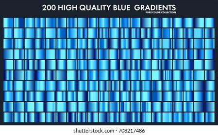 Blue chrome gradient set,pattern,template.Water,sky colors for design,collection of high quality gradients.Metallic texture,shiny metal background.Suitable for text ,mockup,banner, ribbon