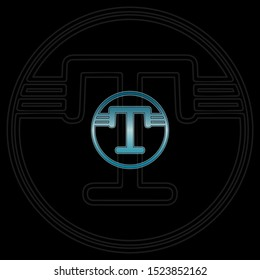 Blue Circle abstract techno letter T logo icon design concept for technology business, digital currency, virtual money  or more business initial identity.