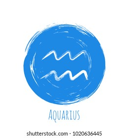 Blue circle Aquarius zodiac sign, hand painted horoscope symbol vector. Astrological icon isolated. Aquarius astrology zodiac symbol round clip art on white background.