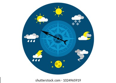 Blue circle barometer with different weather conditions on white background. Eps vector illustration